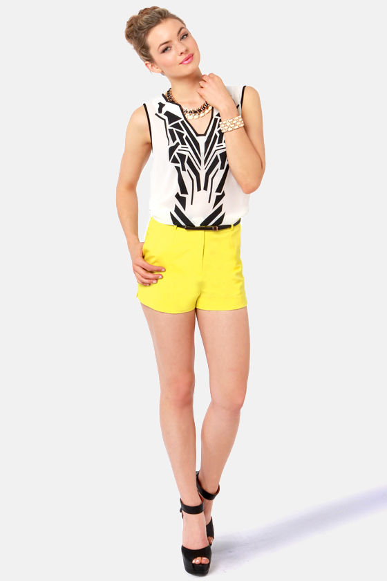 A Squeeze of Lemon Yellow High-Waisted Shorts at Lulus.com!