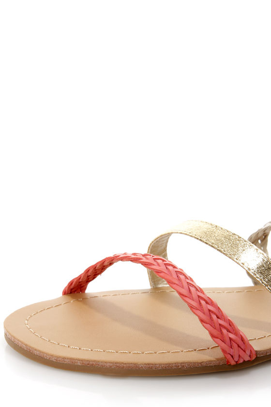 Macbeth 17 Coral and Gold Braided Gladiator Sandals at Lulus.com!