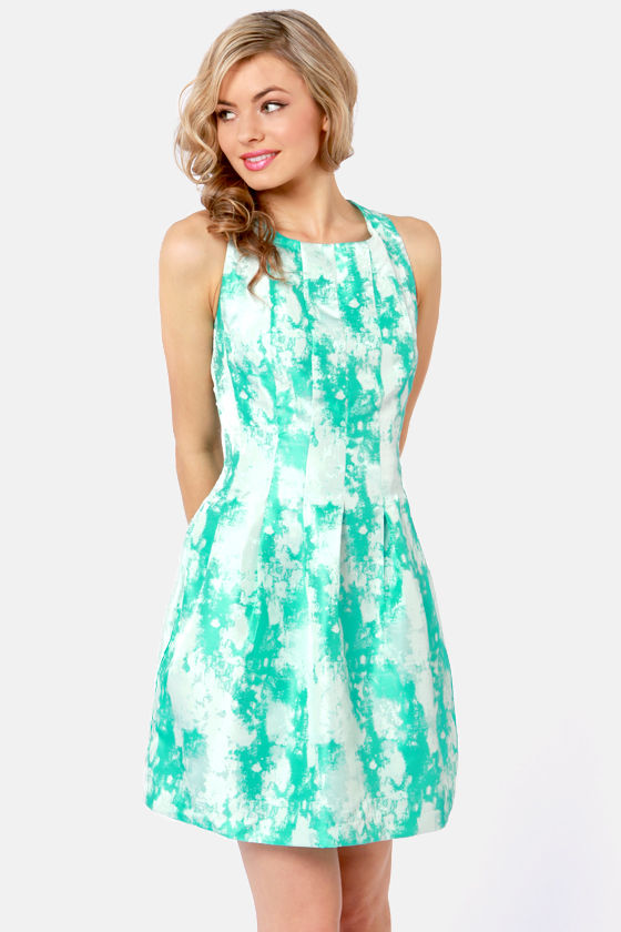 Splash of Color Teal and Silver Brocade Dress at Lulus.com!