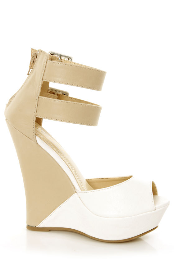 Monaco 3 White and Beige Belted Color Block Wedges at Lulus.com!