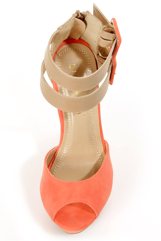 Monaco 3 Coral and Beige Belted Color Block Wedges at Lulus.com!