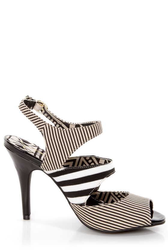 Jessica Simpson Philomena Black and White Striped Peep Toe Heels at Lulus.com!