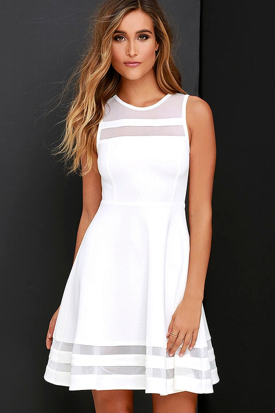 Cute Ivory Skater Dress - White Homecoming Dress $48.00