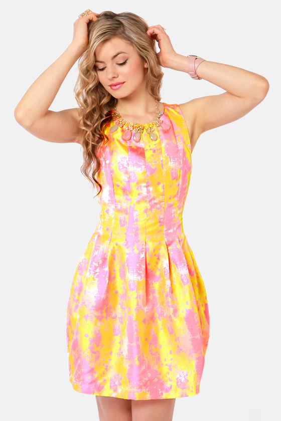 Splash of Color Pink and Gold Brocade Dress at Lulus.com!