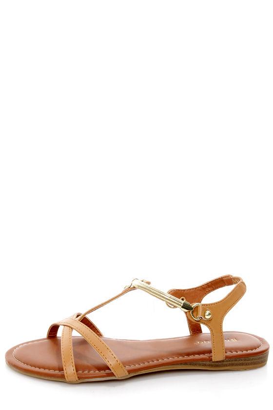 e955eca3b335f0 Bamboo Steno 50 Chestnut Gold Chain Flat Sandals -  23.00