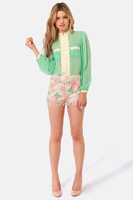 Call Me Darling Mint Green and Cream Button-Up Top at Lulus.com!