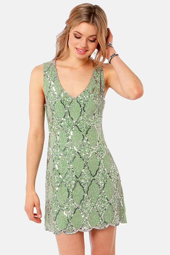 TFNC Abria Dress - Sage Green Dress - Sequin Dress - $114.00