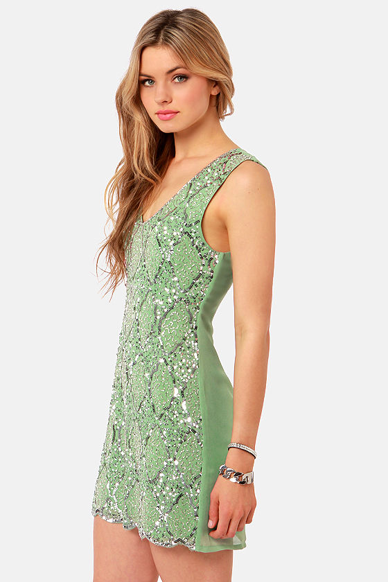 TFNC Abria Sage Green Sequin Dress at Lulus.com!
