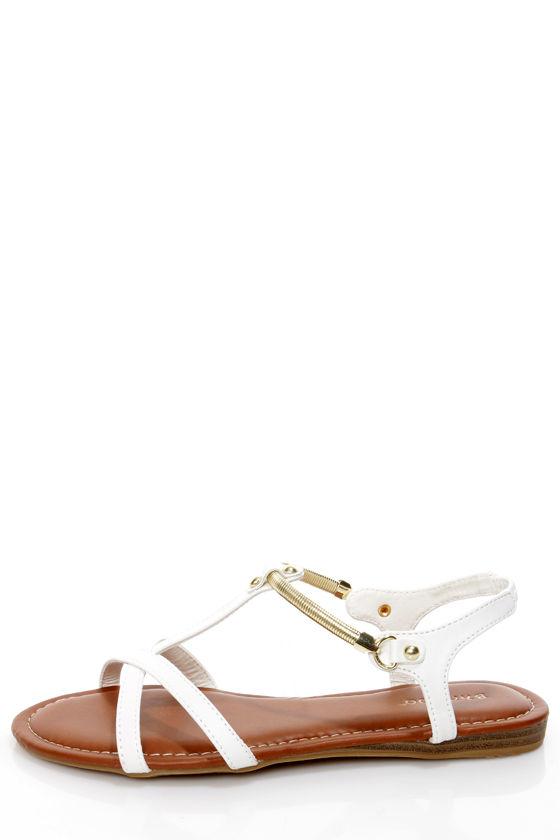 50 Chain Flat Sandals23 Bamboo Steno White 00 Gold 34RL5Aj