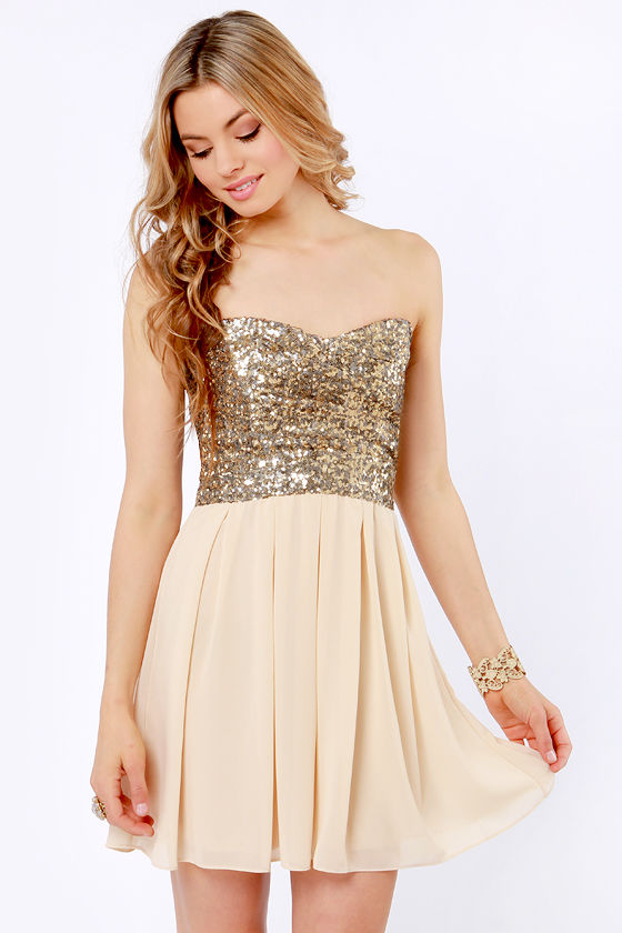 TFNC Emma Dress - Strapless Dress - Sequin Dress - $102.00