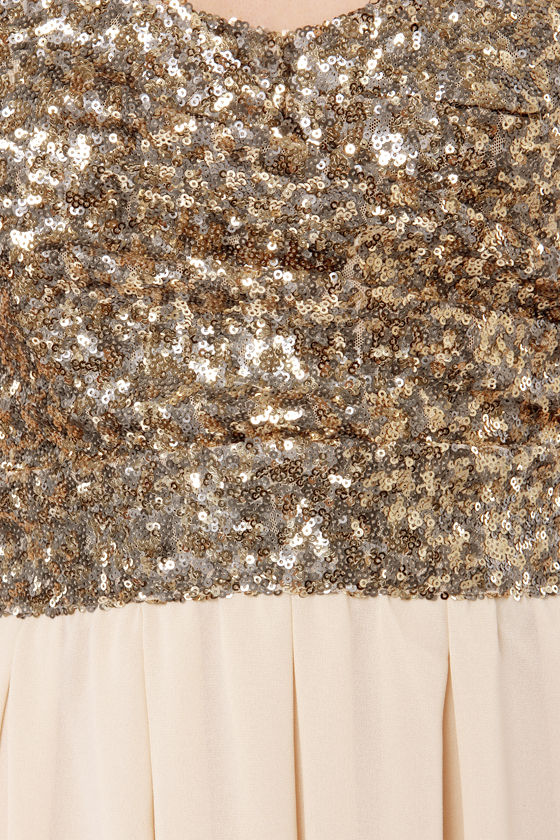 TFNC Emma Strapless Gold Sequin Dress at Lulus.com!