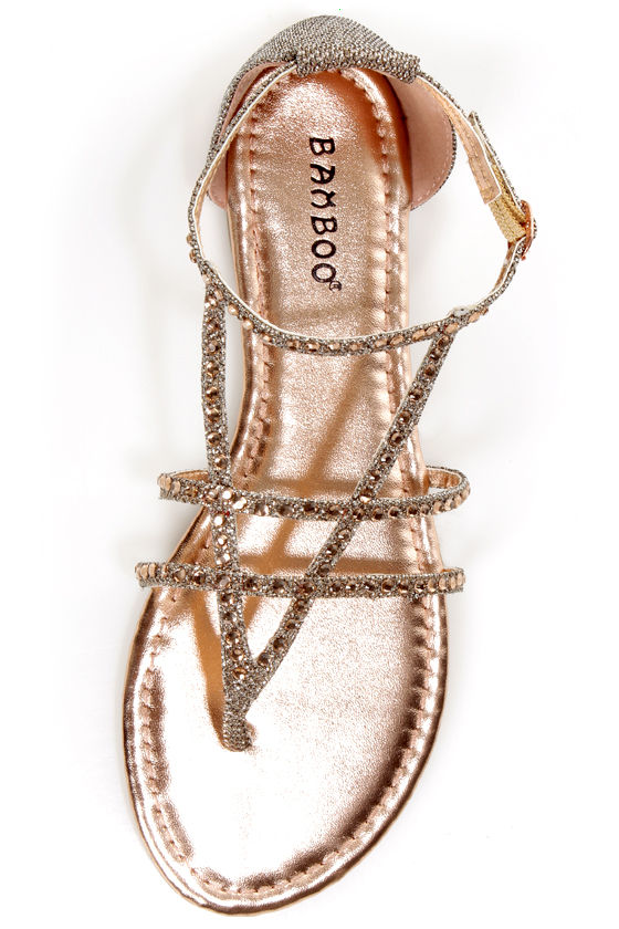 Bamboo Bloom 74 Rose Gold Glitter and Rhinestone Thong Sandals at Lulus.com!