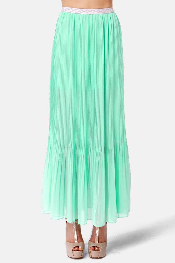 pretty mint blue skirt maxi skirt pleated skirt 48 00