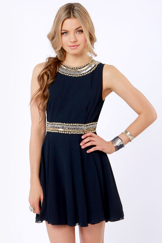 TFNC Hope Navy Blue Beaded Dress at Lulus.com!