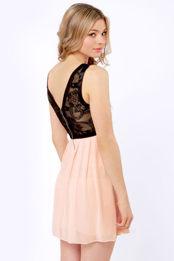 TFNC Dimona Black and Peach Lace Dress at Lulus.com!