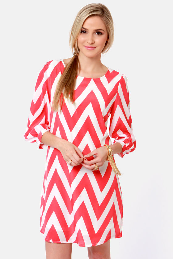 Cute Coral Pink Dress - Chevron Print Dress - Shift Dress - $41.00