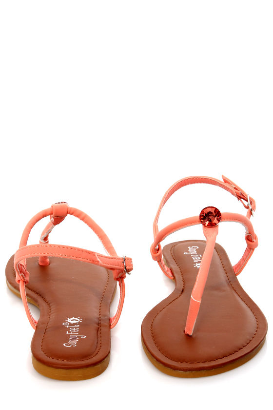 Morris 83 Melon Rhinestone T-Strap Thong Sandals at Lulus.com!