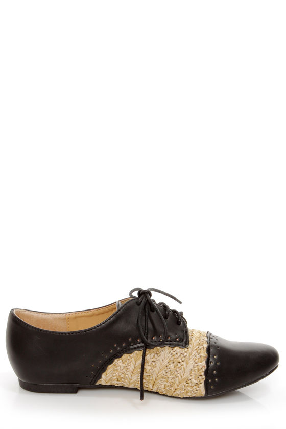 Oxy 5 Black and Raffia Lace-Up Spectator Oxfords at Lulus.com!