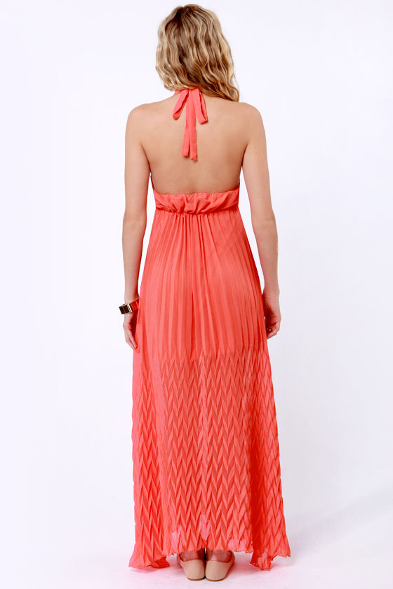 Ripple Effect Coral Maxi Dress at Lulus.com!