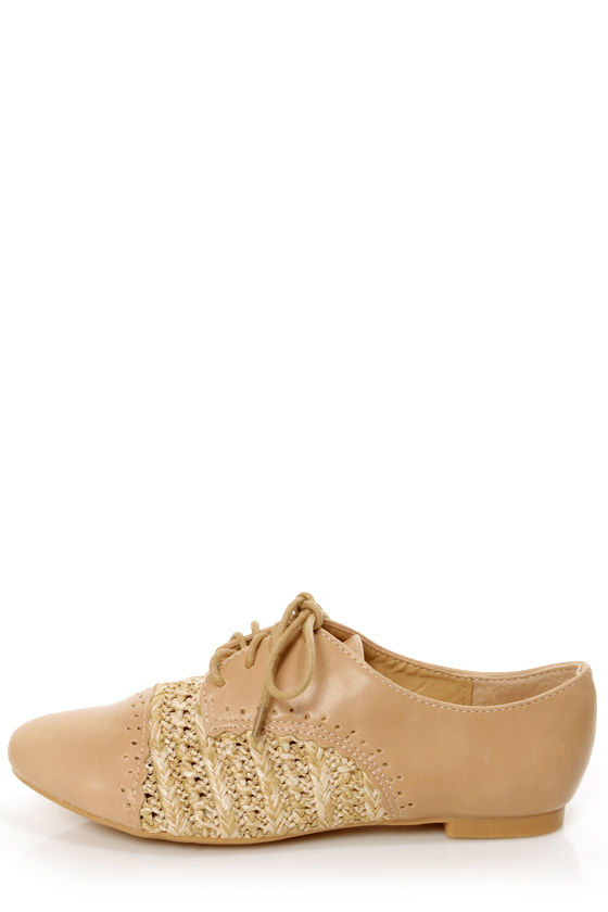 Oxy 5 Beige and Raffia Lace-Up Spectator Oxfords at Lulus.com!