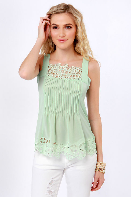 Bygone Days Mint Green Top at Lulus.com!