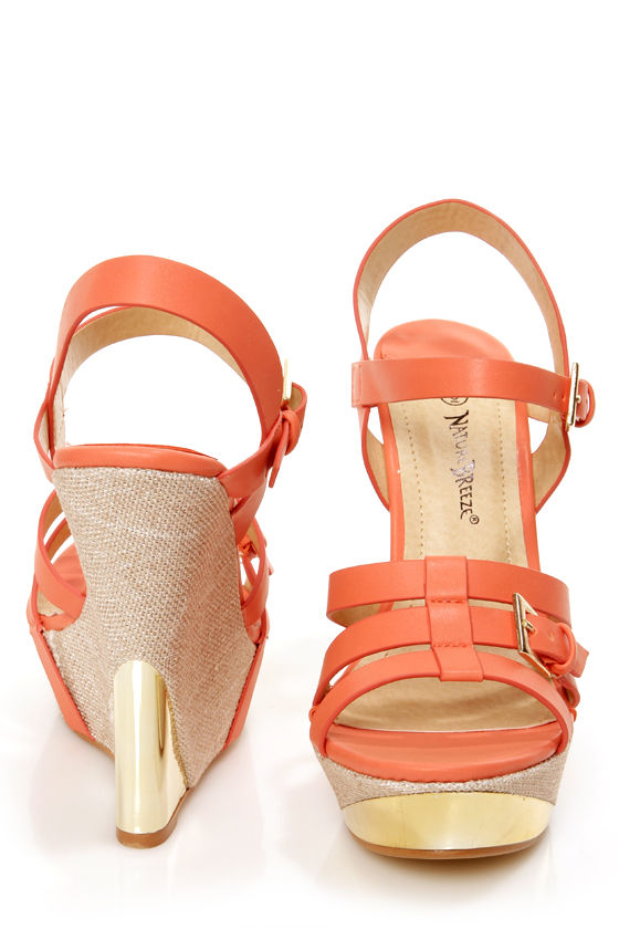 aa9920530 Heather 01 Coral Strappy Buckle Platform Wedge Sandals -  36.00