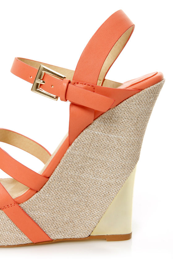 Heather 01 Coral Strappy Buckle Platform Wedge Sandals at Lulus.com!