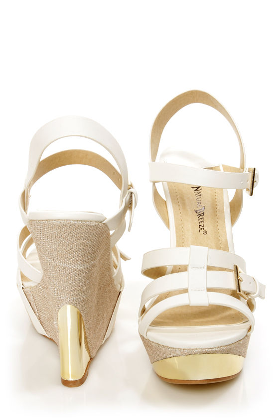 e10fb0ada Heather 01 White Strappy Buckle Platform Wedge Sandals -  36.00