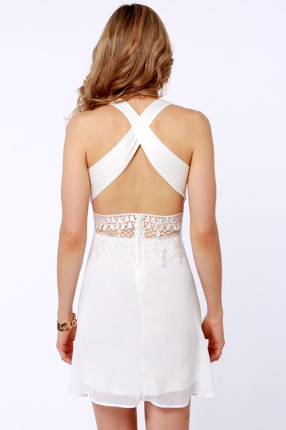 Fun While It Laced-ed Cutout Ivory Dress at Lulus.com!