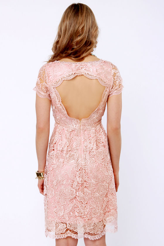 Genteel Breeze Backless Blush Pink Lace Dress at Lulus.com!