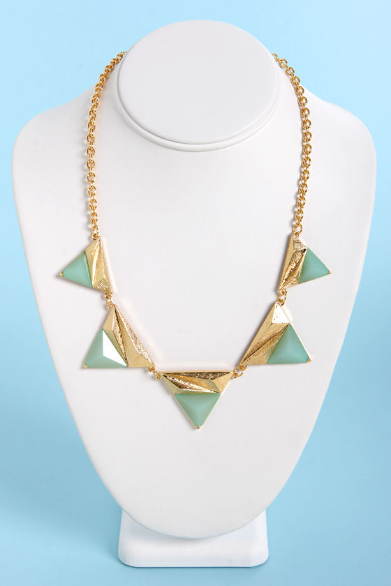 Points of Interest Mint and Gold Triangle Necklace at Lulus.com!