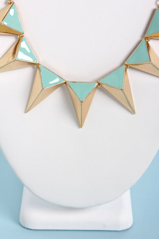 The Spike Who Loved Me Mint Triangle Necklace at Lulus.com!