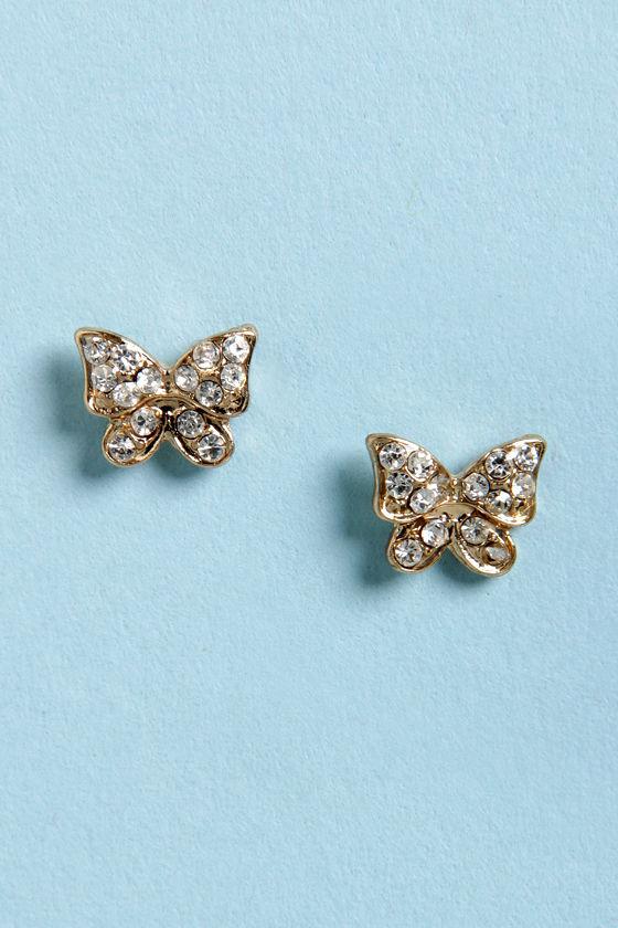 Flight of Fancy Gold Butterfly Earrings at Lulus.com!