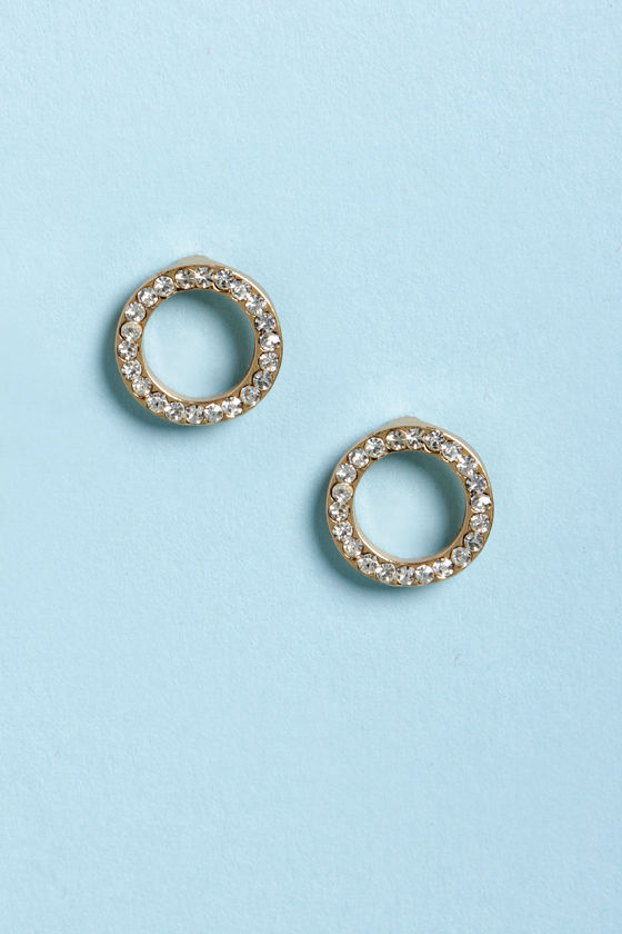 O Joy Round Rhinestone Earrings at Lulus.com!