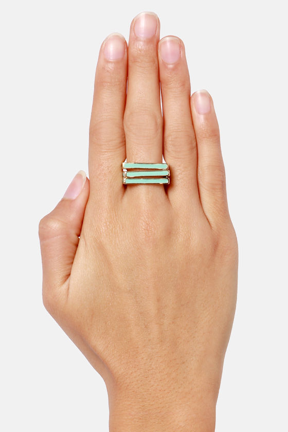Square-fore Art Thou Mint Ring Set at Lulus.com!