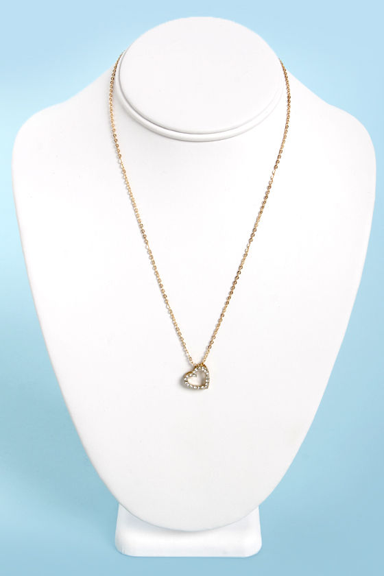 Heart of Rhine-Stone Heart Gold Pendant Necklace at Lulus.com!
