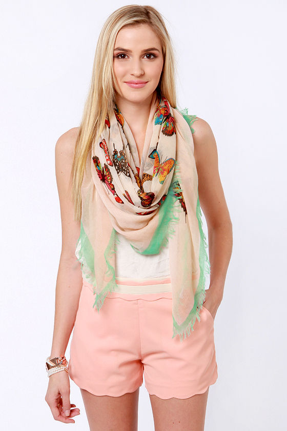 Butterfly-ing High Blush Pink Print Scarf at Lulus.com!