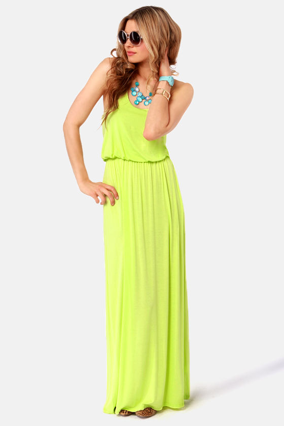 95eab07d8168d Neon Yellow Dress - Maxi Dress - Racerback Dress -  39.00