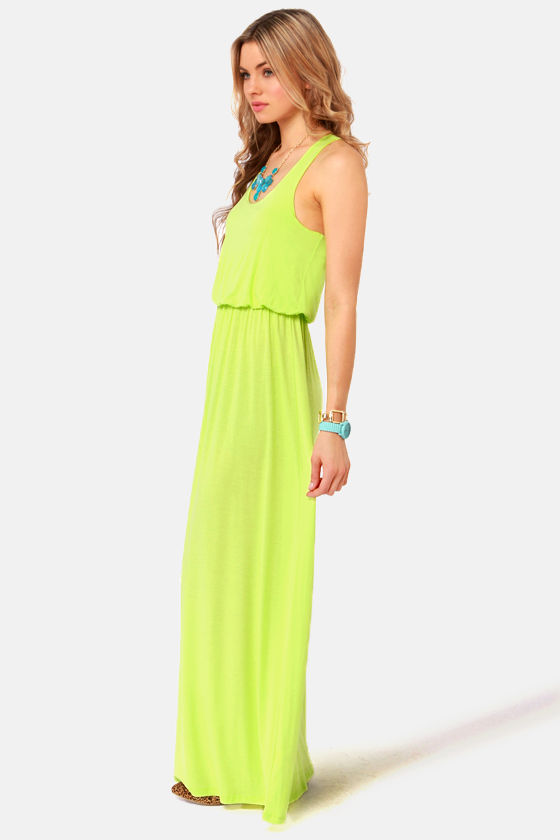 Green Thumb Neon Yellow Maxi Dress at Lulus.com!