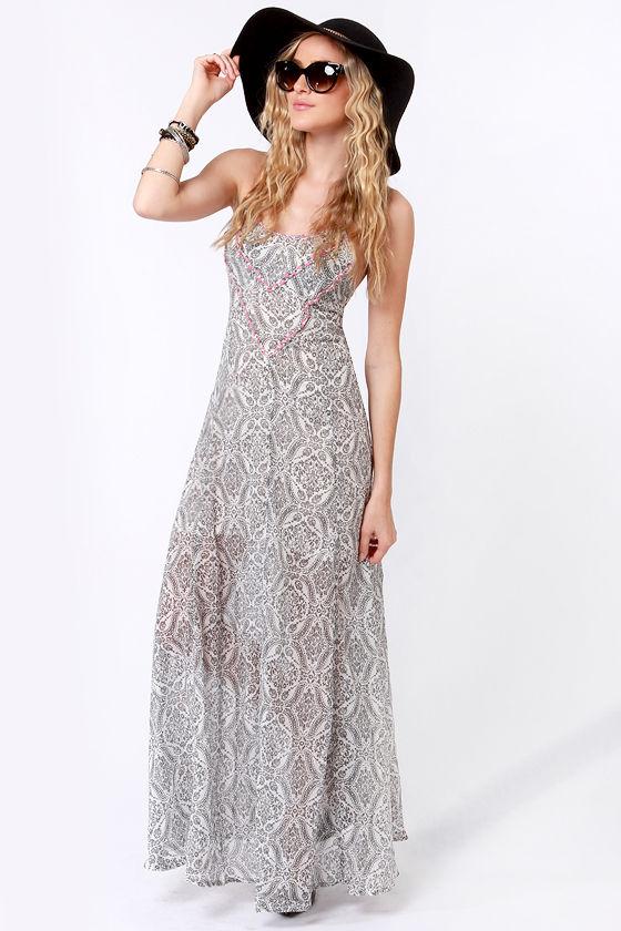 Roxy World Waiting Dress Grey Dress Maxi Dress 64 50