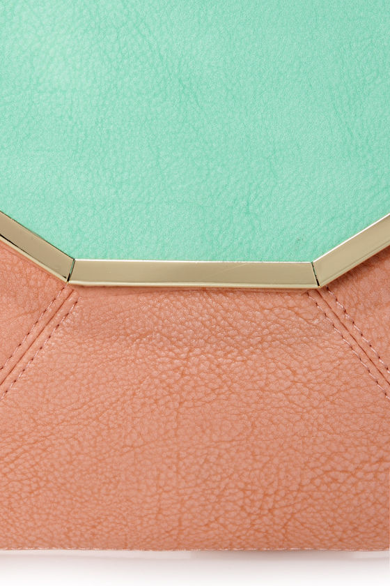 The Envelope, Please Mint and Peach Clutch at Lulus.com!