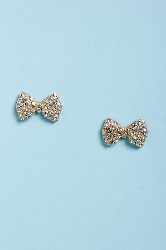 Bow-d Certified Gold Rhinestone Bow Earrings at Lulus.com!