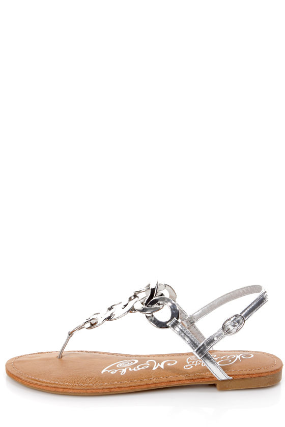 1d69099e3 Naughty Monkey Legendary Silver Metal Chain Thong Sandals -  54.00