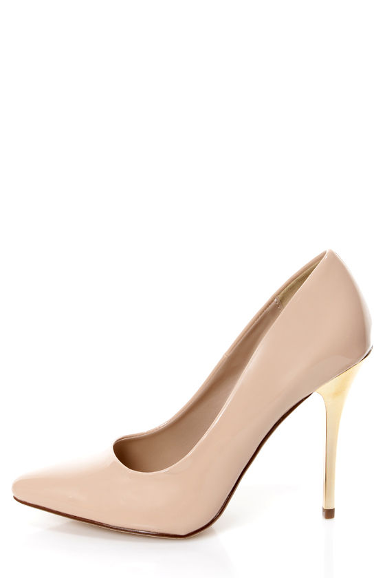 My Delicious Birdy Nude Patent and Gold Pointed Pumps at Lulus.com!