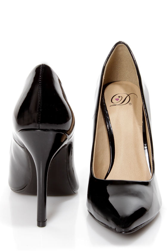 b5abd366bca My Delicious Date Black Patent Pointed Pumps -  22.00