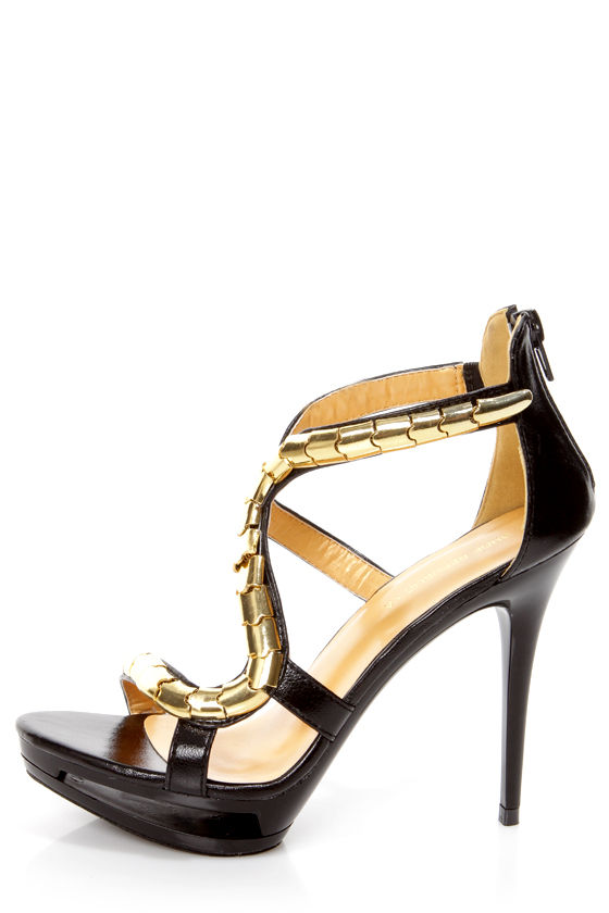 Shoe Republic LA Lowa Black and Gold Plated Platform Heels at Lulus.com!