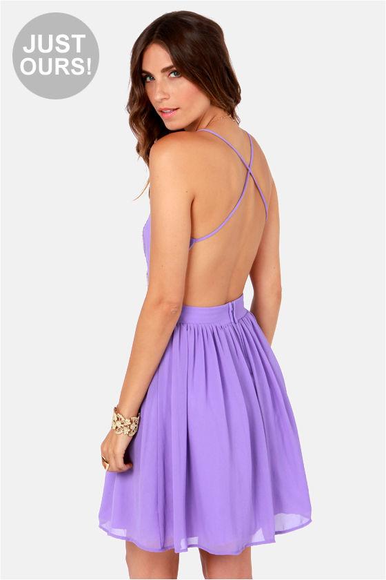 Pretty Lavender Dress - Lace Dress - Backless Dress - $49.00