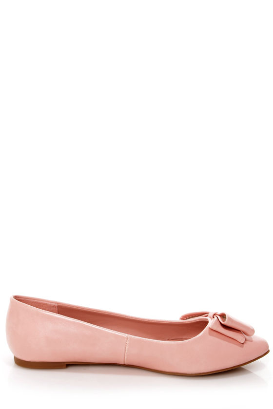 City Classified Doran Pink Side Bow Pointed Flats at Lulus.com!