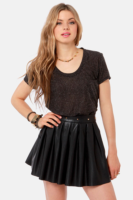 Lucca Couture Mad Slash Charcoal Grey Top at Lulus.com!