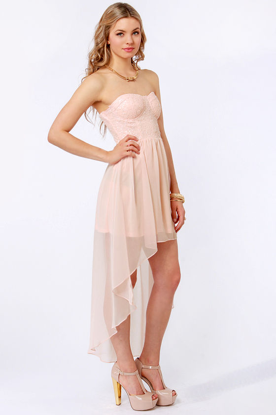 Glisten to This Strapless Peach Sequin Dress at Lulus.com!